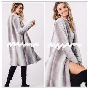 Gray Faux Fur Coat🔥Only 1 Med Left🔥